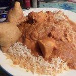 Chicken with curry sauce & Keema Samosas