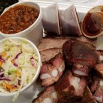 Beans, slaw, brisket and rib ends.