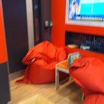 Fire exit obstructed by beanbags