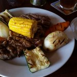 Rib Eye steak with grilled vegetables and rice