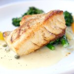 Pan Fried Grouper with Broccolini and Caper Sauce