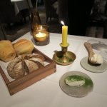 Opus Restaurant - that's a butter candle that melts into the ramekin containing dill