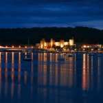 Night-time view of Conwy castle