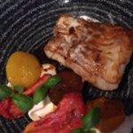 Cod dish with heirloom tomato, buratta mozarella, and balsamic