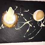 Warm pear and almond cake with salted caramel ice cream