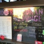 Board outside teh entrance - Indo Restaurant & Lounge in Palo Alto