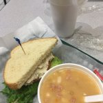 Chicken Salad Sandwich & Bean Soup