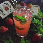 Southern Swings for summer evenings. Jim Beam, Peach Schnapps, Strawberries, Mint, and Sprite.