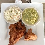My meal. Fried chicken, slaw and buttered lima beans