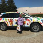 Cindy and the Jelly Belly vehicle (1 of 2 parked out in front).