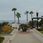 Hotel del Coronado: View of hotel grounds--beach straight ahead