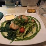 Pan seared black grouper with zucchini noodles and sautéed spinach. AMAZING!!!