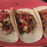 Top=grilled scallop taco. middle=grilled shrimp taco HIGHLY RECOMMEND. bottom= firecracker taco.