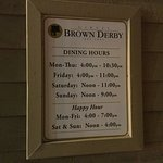 The Original Brown Derby Roadhouse (Dining Hours).