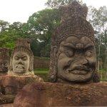 on the bridge to angkor thom