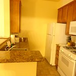 Full kitchen, including toaster, dishes, cookware