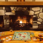 Lounge with fireplace & board games