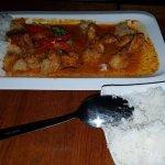 Tempura prawns with red thai curry sauce