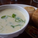 Seafood chowder with nice roll