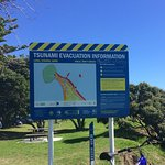 Tsunami evacuation info at Mount Maunganui beach