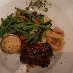 fillet steak, veg and pepper sauce