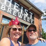 Karen won a crown on the Funny Bus Tour we left to enjoy Heist's beer and facilities.