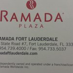 Ramada Plaza, Fort Lauderdale Business card.