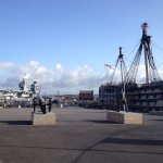 Old meets new, Nelson's flagship HMS Victory and HMS Queen Elizabeth in Portsmouth.
