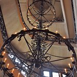 The huge & very heavy iron chandelier in the spiral staircase