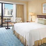 King bed with views of downtown and Gaslamp Quarter
