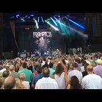The stage and crowd at Verizon Amphitheater in Alpharetta, GA