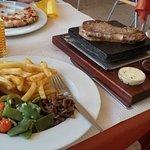 Super yummy steak, chips, mushrooms, veg, BBQ sauce and home made garlic butter