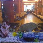 lobby through aquarium wall