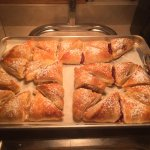 Breakfast includes apple and cherry turnovers
