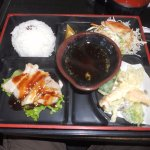 teri chicken and tempura with salad and rice