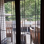 leaded glass doors to veranda