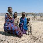 A Maasai family, on the road between Ngorogoro and Serengeti