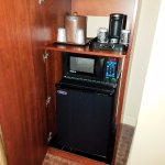 Microwave, pod-style coffeemaker, and refrigerator