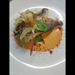 Lavraki Filteo Fillet of sea bass with langoustine bisque, fennel orange and radish salad