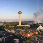 The IMAX theater is the pyramid building to the right of the Skylon Tower