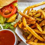 American burger and fries