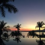 Watching sunrise from the Lombok Lodge pool