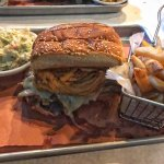 The Tumbleweed - butter bread, fried onions, cheese, and brisket.