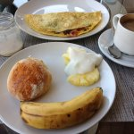 Breakfast - eggs done to what you like. BEST Scones!