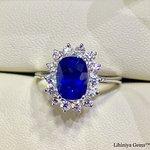 GIC Certified Cornflower Blue Ceylon Sapphire & 3pts size white diamonds set in 18kt White Gold