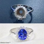 White Gold Certified Blue Sapphire & Diamond ring [Before & After Setting main Stone]
