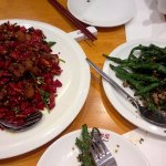Pork spare ribs in dried chilli, string beans with minced beef.