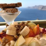 Pasteli, fruits, honey, walnuts and greek yoghurt