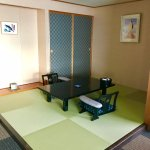 In room dining area, doubles as area for tatami beds at night.