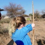 Our daughter learning to shoot from one of the Hadzabe bushmen